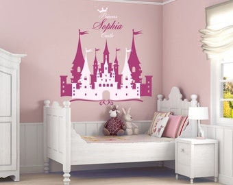 Elegant Princess Castle Personalized Name Decal, Nursery Decal, Girlu0027s Room Decal, Castle  Wall Sticker