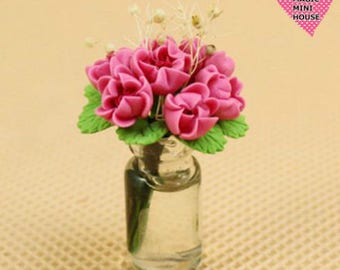 Dolls House Miniature Pink Rose in Glass Vase