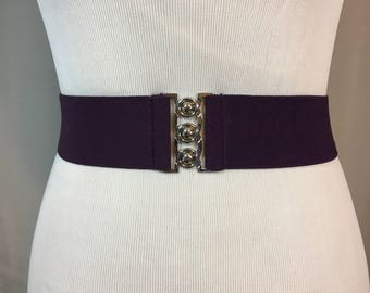 Vintage Purple Stretch Belt with Silver Buckle, Dark Purple Stretch Cinch Belt, 2 Inches Wide 24.5 Inches Long Stretches to 40 Inches Long