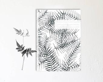 Notebook-botanical monocotyledonous - handmade - note notebooks - tropical Palm plant design