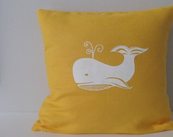 Pillow Cover - Cushion Cover - Whale Pillow  - 16 x 16 inches - Choose your fabric and ink color - Accent Pillow