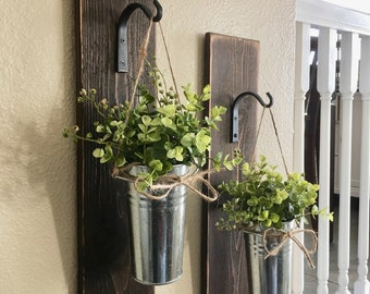Large Set of Galvanized Metal Hanging Planter with Greenery or Flowers, Farmhouse Decor Rustic Wall Decor, Country Wall Decor, Home Decor