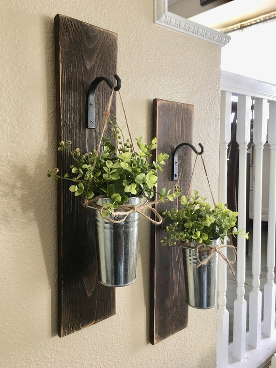 Large Set Of Galvanized Metal Hanging Planter With Greenery Or