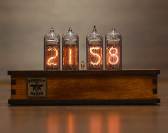 IN-14 Nixie Tube Retro Desk Clock Assembled Tested Wooden Case Adapter 110/240V