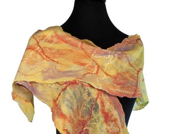 Nuno Felted Silk Scarf, Lightweight Yellow Scarf, Felted Wool scarf