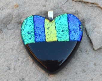 Dichroic Glass Heart Pendant - Black with Iridescent Colours Purple Green Aqua Blue - Small Silver Plated Bail Fitting - Gift Boxed