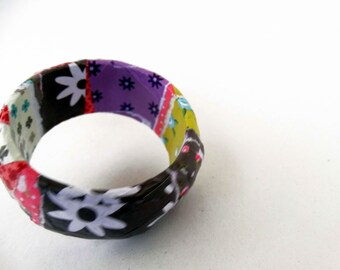 papier mache bracelet,bangle,free shipping,multicolor,paper jewelry,eco friendly,brown,purple,white,yellow,floral style,casual,spring,her.