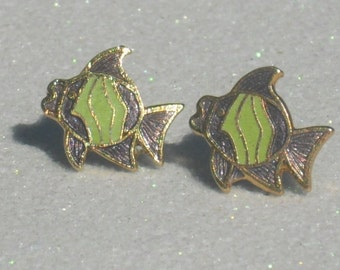 Vintage Asian Green and Purple Enameled Metal Fish Stud Earrings