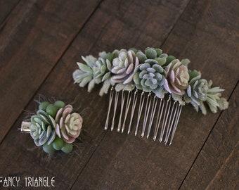 Get Both-Handmade Succulents Symmetrical Side Comb & Mini Succulents Alligator Hair Clip (faux succulents)- FOR SUCCULENT LOVERS :)