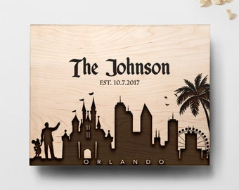 Personalized Cutting Board, Engraved Cutting Board, Custom Cutting Board, Personalized Gift, Wedding Gift - Orlando Florida Skyline, Disney