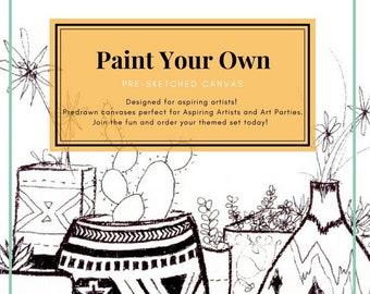 Paint Party PreDrawn Canvas Designs PreSketched to Paint Yourself, Paint your own canvas, Paint Party, Canvas for Paint Parties, Engagement