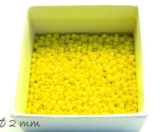 50 g opaque seed beads yellow 2 mm #8 beads