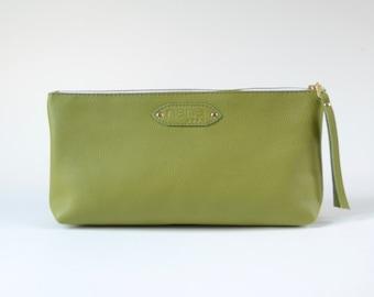 Nana: Foundation leather clutch - Leaf green