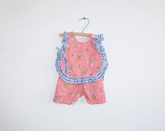 Vintage Red and Blue Short Set