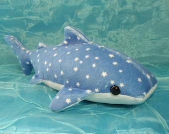 Starry Night Sky Blue Whale Shark Plush Stuffed Animal