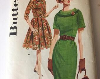 Vintage 1950's BUTTERICK #2494 Jackie O Mad Men Wiggle Dress Sz 12 UNCUT