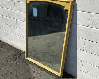 Mirror Faux Bamboo Vanity Bedroom Decor Hollywood Regency Chinoiserie Bohemian Boho Chic Campaign Mid Century Modern CUSTOM PAINT AVAIL