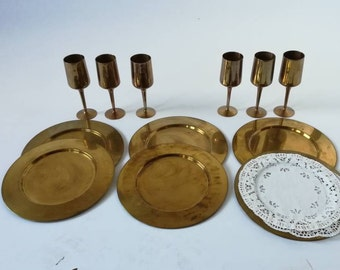 6 plates and 6 Vintage or antique 1950's brass wine glasses