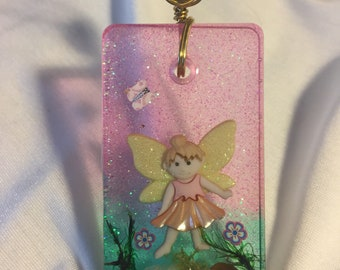 Fairy in a garden Large Resin Pendant