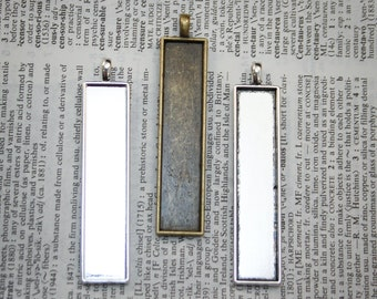 Black Friday 6 - Rectangle pendants 10x 50mm, Photos, Pendant Trays Jewelry making supplies 2 inch Cyber Monday FREE SHIPPING