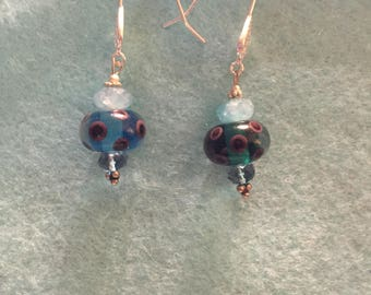 Blue gemstone and lampwork beads earrings, blue Quartz and topaz earrings