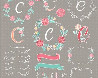 C Floral Alphabet Digital Clipart - Flower Alphabet - Floral Typography - Invitation - Floral Wedding - Floral Font - Botanical - Letters