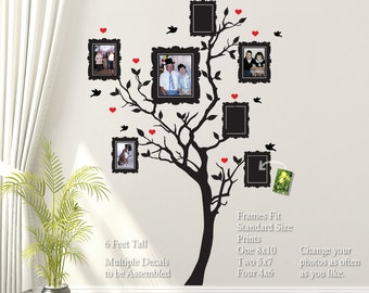 Family Tree Wall Decal with Hearts, Birds, Picture Frames: Room Decor, DIY Home Decor Vinyl Wall Sticker