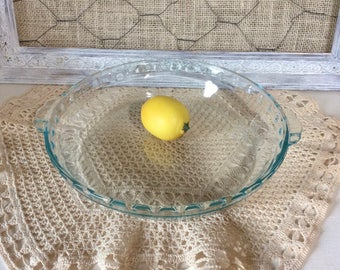 Vintage Pyrex Pie Plate With Handles - Clear Glass Deep Dish Pie Plate #229 - Fluted or Crimped Edge - Clear with Blue/Green Tint - USA