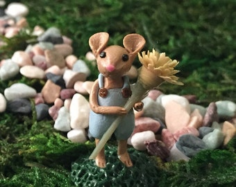 Miniature Figurine Mouse with Flower in Blue Overalls, Fairy Garden Terrarium Sculpture, Accessory