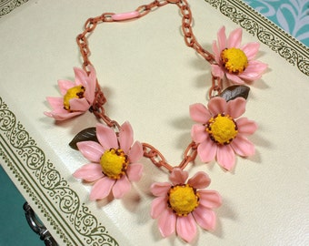 Vintage Celluloid Necklace | 40's Pink Plastic Flower Necklace | Vintage Plastic Necklace | Pink Celluloid Chain | Statement Necklace