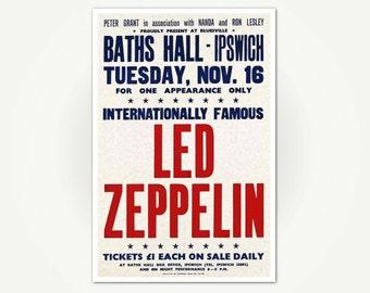 Led Zeppelin Concert Poster Print - St. Matthew's Baths Hall, Ipswich '71