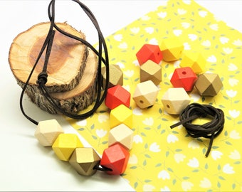 Kit necklace, suede cord brown 1 m, 8 polygons 20 mm natural, golden, red, yellow