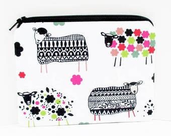 Sheep Notions Bag, Small Zipper Pouch, Wool Ewe, Gift for Knitters, Sheep in Sweaters