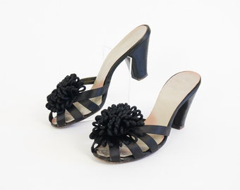 Vintage 1960s Womens Size 6.5N Shoes / Gay Life Black Satin Boudoir Slippers with Large Corded Rosette