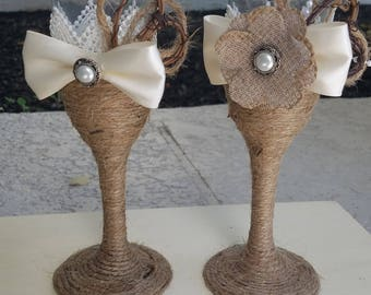 rustic champagne flutes, champagne flutes, twine wrapped champagne flutes, wedding champagne flutes
