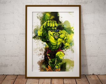 The Hulk Marvel Print Watercolor Poster Hero Incredible Hulk Watercolor Art Print, Superhero Poster Watercolor Wall Art n458