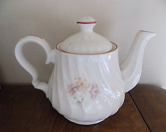 Antique Teapot - White Swirl - Made in England - Ironstone