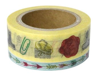 """Japanese Washi Masking Tape set of 2 - """"Clip and Arrows"""" for Journaling, Hobonichi Planner deco, scrapbooking, packaging"""