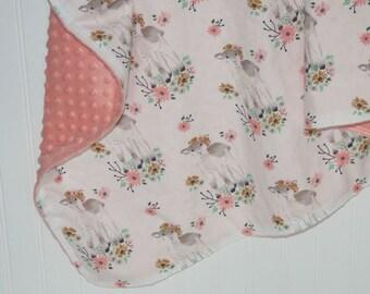 lamb baby blanket- floral baby blanket- minky baby blanket- custom baby blanket- baby bedding- girl baby bedding- lamb crib bedding