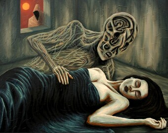 Lonely Phantom - Original Dark Surrealism Oil Painting by Frank Heiler