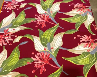 Fab 40s Vintage Tropical Floral Fabric with a Whimsical Twist// //Cotton Yardage// Upholstery//Drapery// New Old Stock//BTY 5 YARDS