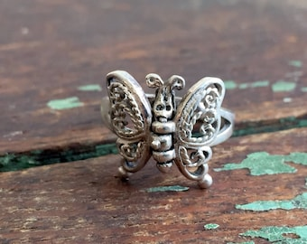 VIntage Mechanical Butterfly Ring 925 Sterling Filigree Size 5.5