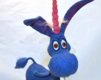 Happy! blue unicorn - Needle Felted toy.