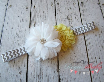 Chevron Headband - Gray Yellow & White with Metal Rhinestone- Newborn -Toddler  - Child - Adult - Flower Girl