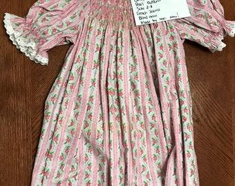 Pink Floral Striped Bishop Dress Size 2-3