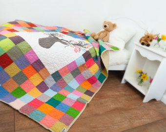 Modern Woodland Baby Quilt; Gorgeous Handmade Patchwork Quilt Perfect For a Woodland Nursery