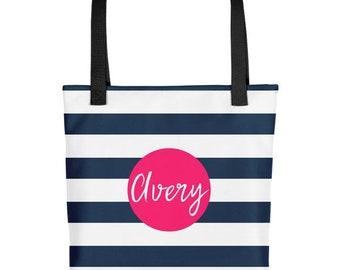 Striped Tote Bag, Personalized Tote Bag, Striped Bag, Personalized Bag, Stripes Tote Bag, Printed Tote Bag, Nautical Tote Bag, Beach Bag