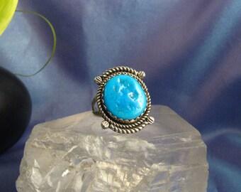 Ring Vintage Native Southwest Sterling Silver 925 Blue Gem Turquoise Ring Sz 6.5