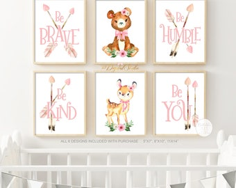 Woodland Nursery Decor  Be Brave  Be Kind Be Humble  Nursery Art