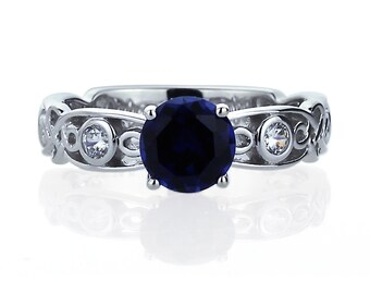 Women 7mm 14K White Gold 1.25 ct Simulated Sapphire CZ Wedding Engagement Ring(DEFR2497)